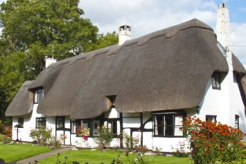 Cottage with a thatched roof